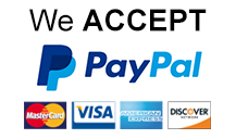 We accept PayPal, Visa, Mastercard, and more.